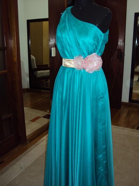 Vestido longo de musseline de seda