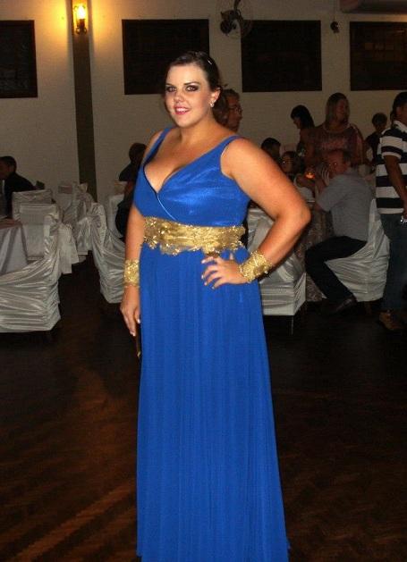 Vestido de formatura azul e dourado